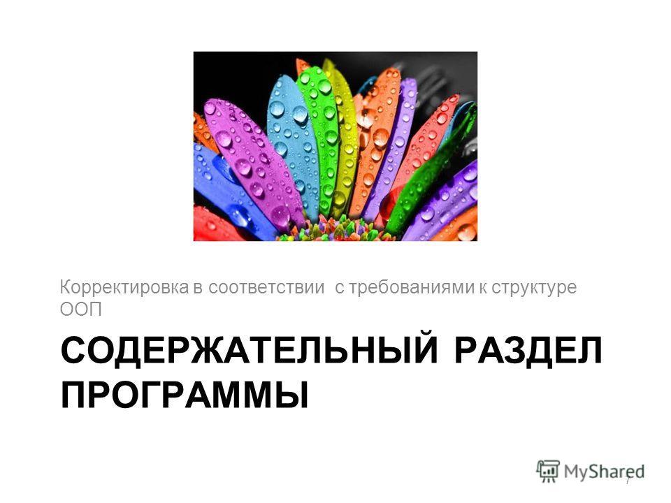 СОДЕРЖАТЕЛЬНЫЙ РАЗДЕЛ ПРОГРАММЫ Корректировка в соответствии с требованиями к структуре ООП 7