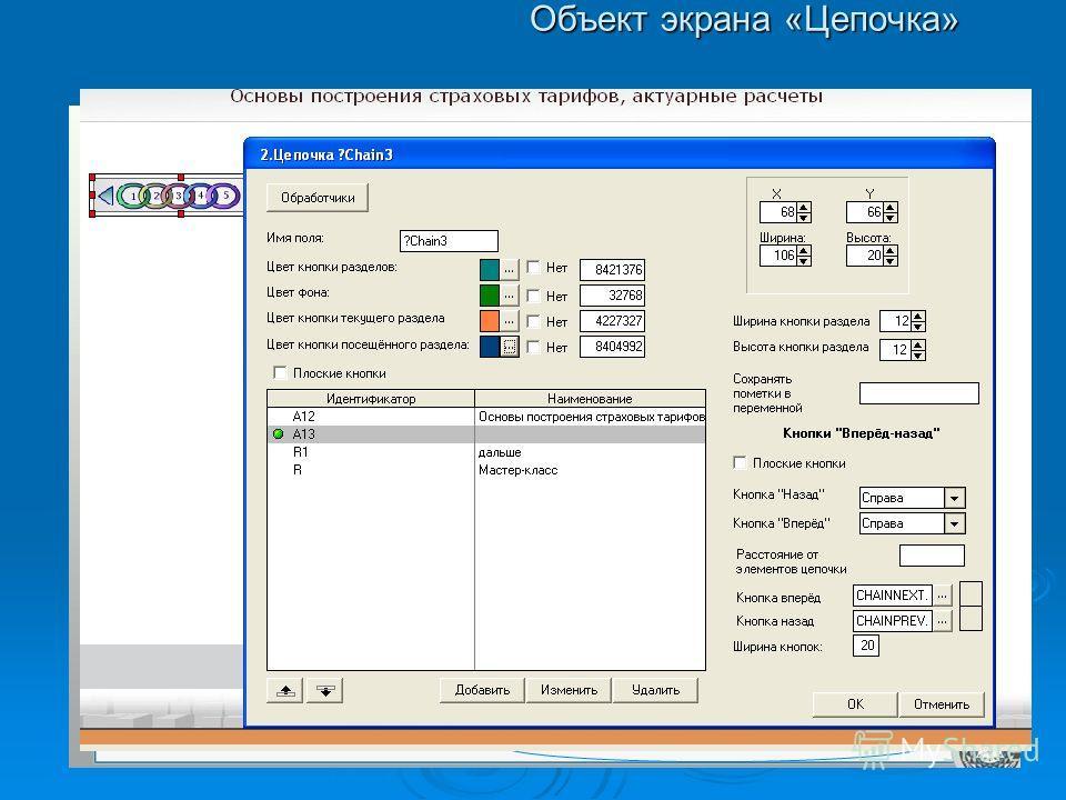Объект экрана «Цепочка»