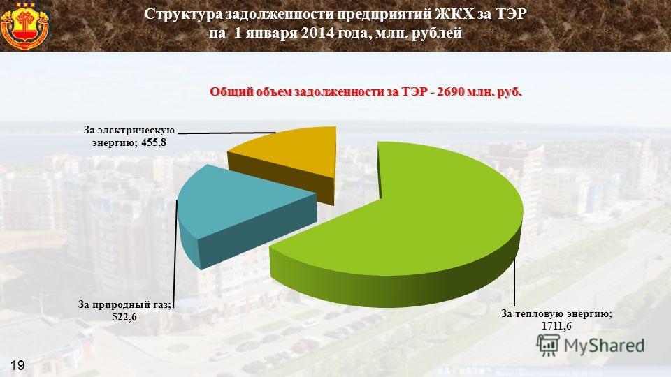 Структура задолженности предприятий ЖКХ за ТЭР на 1 января 2014 года, млн. рублей 19