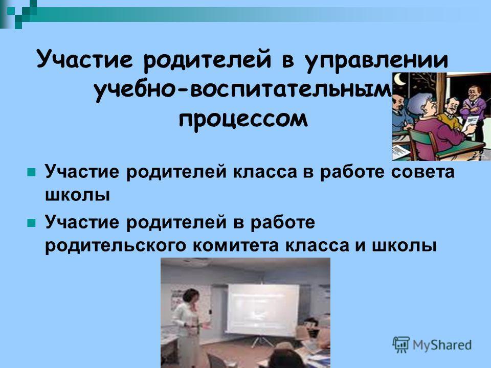 Участие родителей в управлении учебно-воспитательным процессом Участие родителей класса в работе совета школы Участие родителей в работе родительского комитета класса и школы