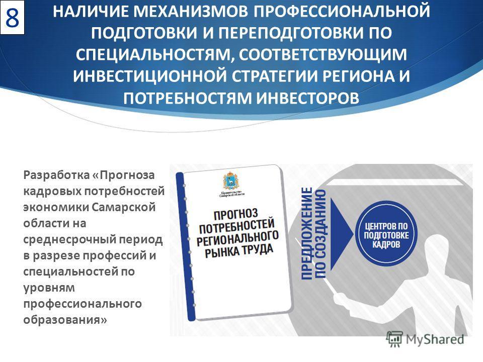 Разработка «Прогноза кадровых потребностей экономики Самарской области на среднесрочный период в разрезе профессий и специальностей по уровням профессионального образования» 8