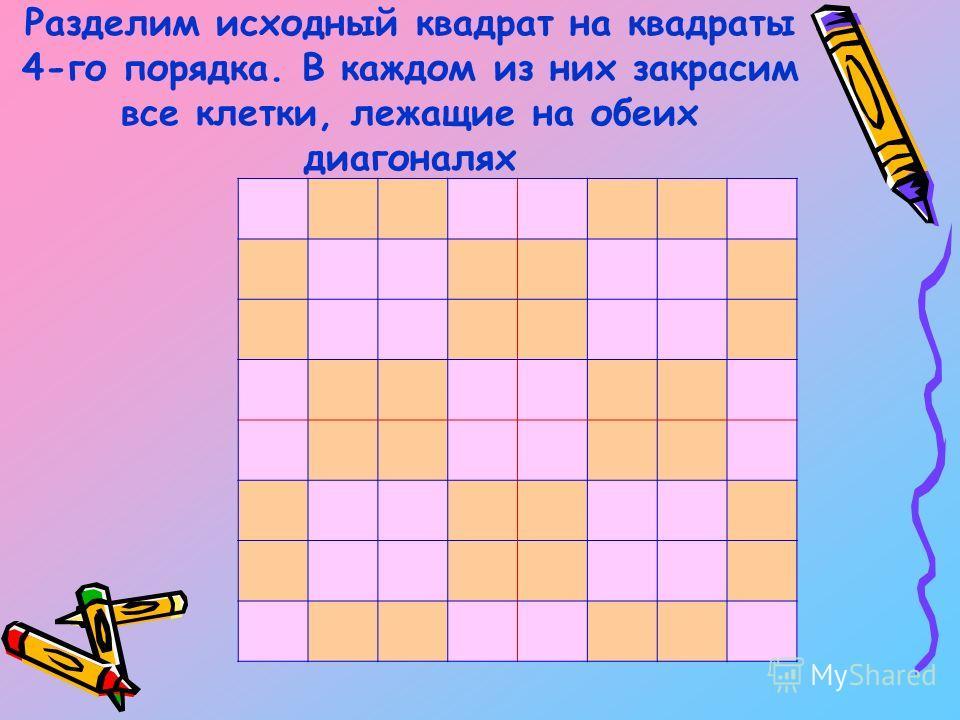 Разделим исходный квадрат на квадраты 4-го порядка. В каждом из них закрасим все клетки, лежащие на обеих диагоналях