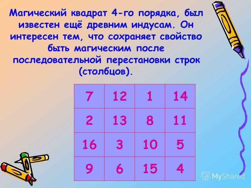 Магический квадрат 4-го порядка, был известен ещё древним индусам. Он интересен тем, что сохраняет свойство быть магическим после последовательной перестановки строк (столбцов). 712114 213811 163105 96154