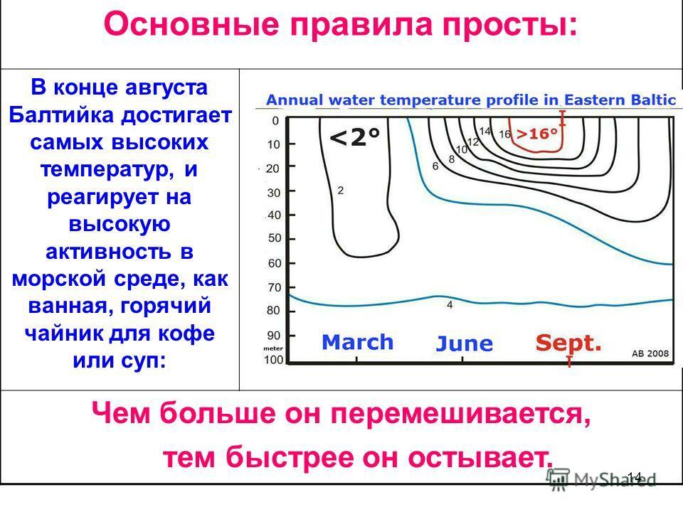 14 Основные правила просты: В конце августа Балтийка достигает самых высоких температур, и реагирует на высокую активность в морской среде, как ванная, горячий чайник для кофе или суп: Чем больше он перемешивается, тем быстрее он остывает.