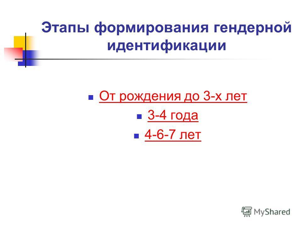 Этапы формирования гендерной идентификации От рождения до 3-х лет 3-4 года 4-6-7 лет