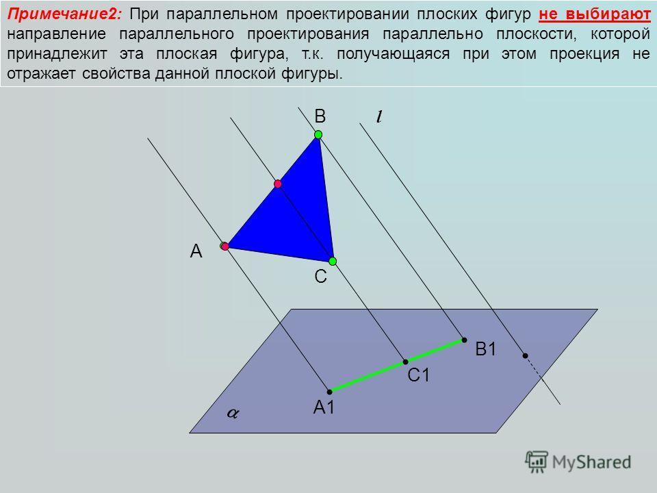 Примечание2: При параллельном проектировании плоских фигур не выбирают направление параллельного проектирования параллельно плоскости, которой принадлежит эта плоская фигура, т.к. получающаяся при этом проекция не отражает свойства данной плоской фиг