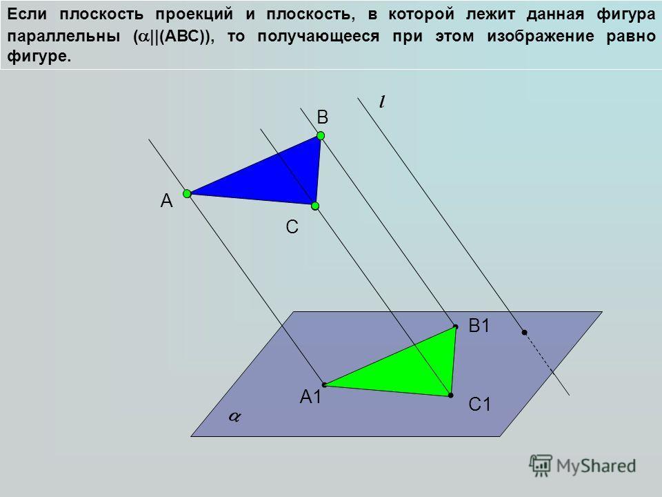 Если плоскость проекций и плоскость, в которой лежит данная фигура параллельны ( ||(АВС)), то получающееся при этом изображение равно фигуре. А l B C А1 B1B1 C1C1