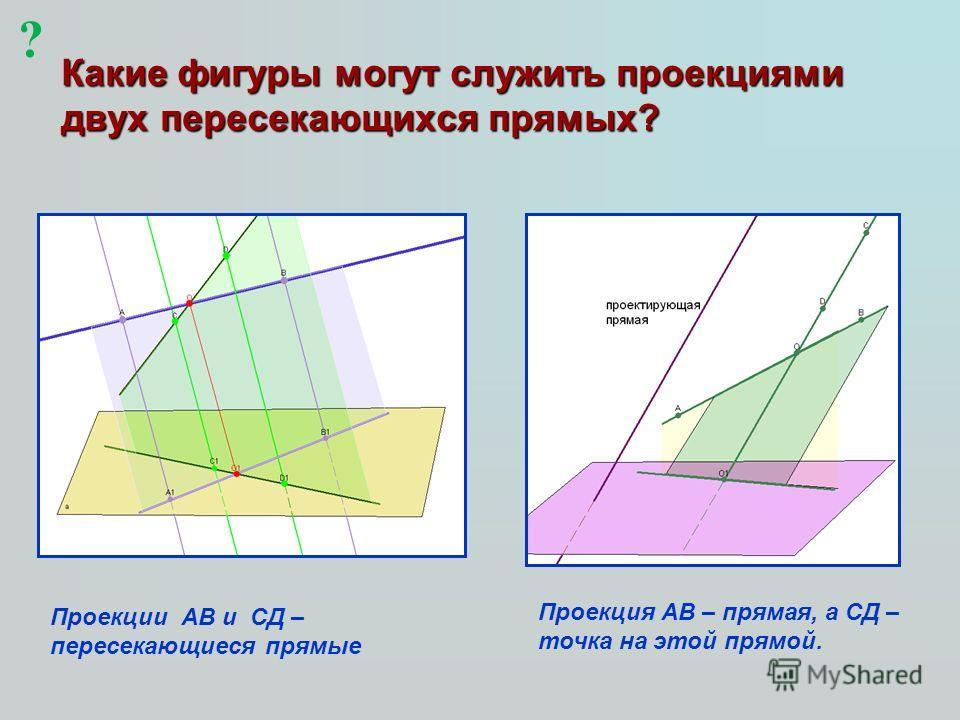 Какие фигуры могут служить проекциями двух пересекающихся прямых? ? Проекции АВ и СД – пересекающиеся прямые Проекция АВ – прямая, а СД – точка на этой прямой.