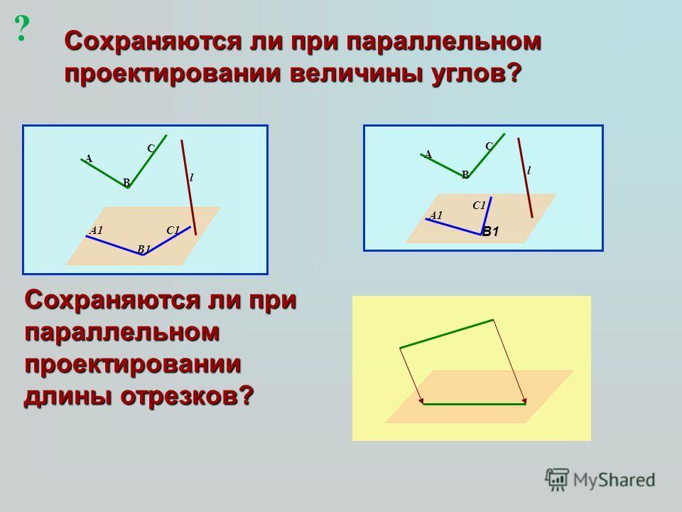 Сохраняются ли при параллельном проектировании величины углов? l A B C A1 B1 C1 l A B C A1 C1 Сохраняются ли при параллельном проектировании длины отрезков? B1 ?