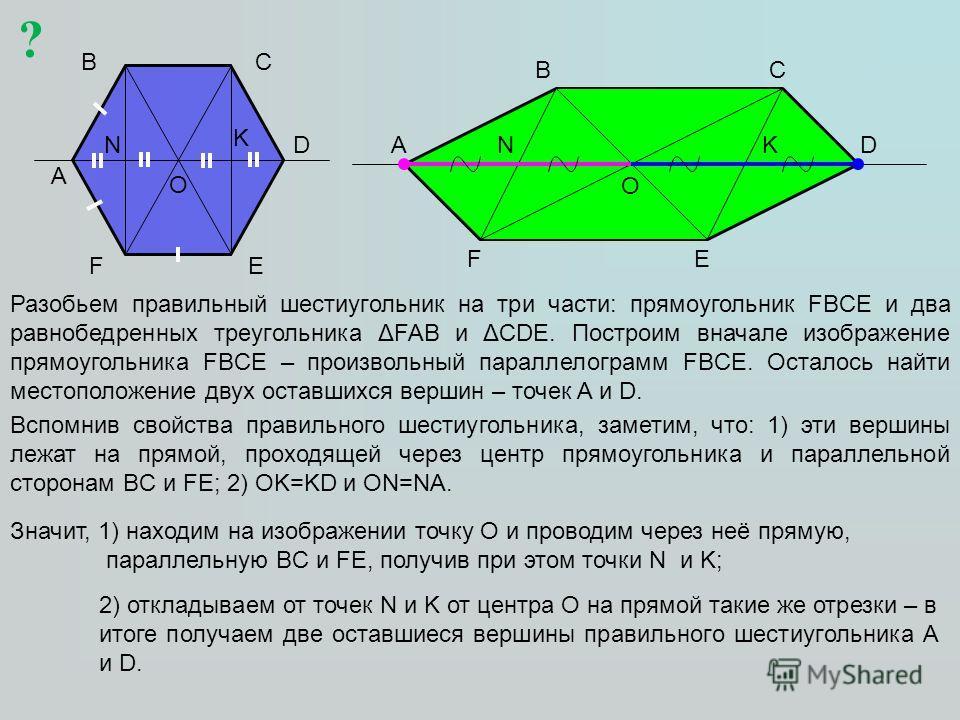A BC D EF O F A BC D E Разобьем правильный шестиугольник на три части: прямоугольник FBCE и два равнобедренных треугольника ΔFAB и ΔCDE. Построим вначале изображение прямоугольника FBCE – произвольный параллелограмм FBCE. Осталось найти местоположени