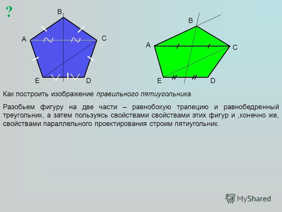 A B C DE Как построить изображение правильного пятиугольника. Разобьем фигуру на две части – равнобокую трапецию и равнобедренный треугольник, а затем пользуясь свойствами свойствами этих фигур и,конечно же, свойствами параллельного проектирования ст