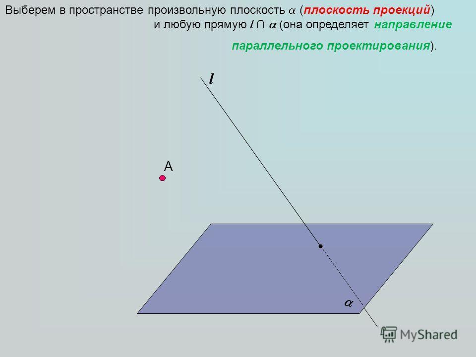А Выберем в пространстве произвольную плоскость (плоскость проекций) и любую прямую l (она определяет направление параллельного проектирования). l