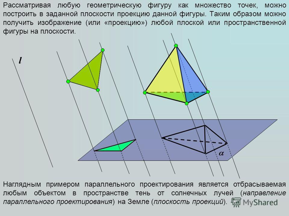 Рассматривая любую геометрическую фигуру как множество точек, можно построить в заданной плоскости проекцию данной фигуры. Таким образом можно получить изображение (или «проекцию») любой плоской или пространственной фигуры на плоскости. l Наглядным п
