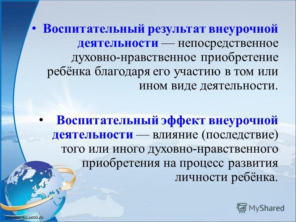 Воспитательный результат внеурочной деятельности непосредственное духовно-нравственное приобретение ребёнка благодаря его участию в том или ином виде деятельности. Воспитательный эффект внеурочной деятельности влияние (последствие) того или иного дух