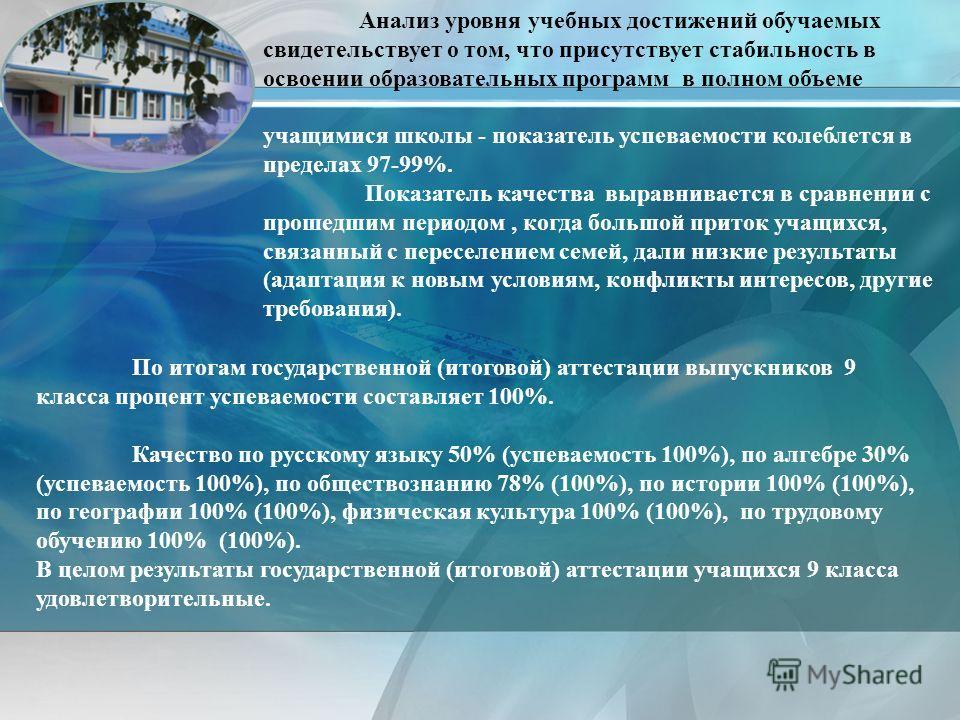 По итогам государственной (итоговой) аттестации выпускников 9 класса процент успеваемости составляет 100%. Качество по русскому языку 50% (успеваемость 100%), по алгебре 30% (успеваемость 100%), по обществознанию 78% (100%), по истории 100% (100%), п