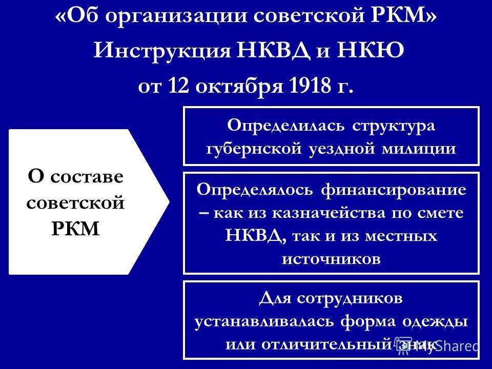 Определилась структура губернской уездной милиции Определялось финансирование – как из казначейства по смете НКВД, так и из местных источников Для сотрудников устанавливалась форма одежды или отличительный знак О составе советской РКМ «Об организации