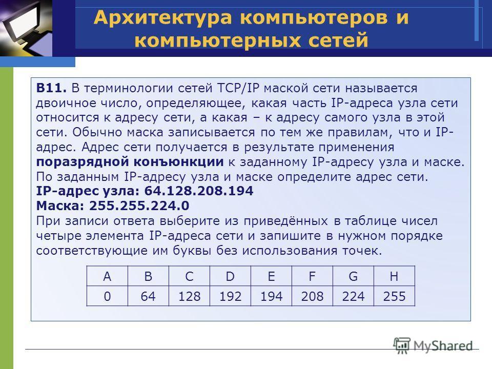 Архитектура компьютеров и компьютерных сетей B11. В терминологии сетей TCP/IP маской сети называется двоичное число, определяющее, какая часть IP-адреса узла сети относится к адресу сети, а какая – к адресу самого узла в этой сети. Обычно маска запис