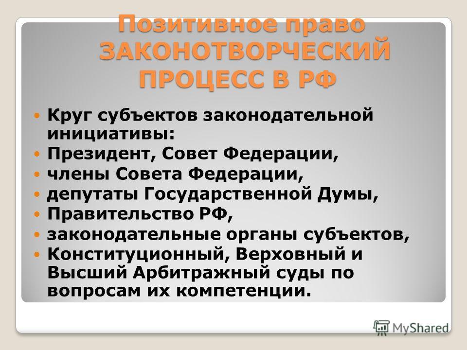 законодательный процесс в рф: