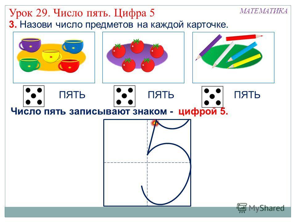 3. Назови число предметов на каждой карточке. ПЯТЬ МАТЕМАТИКА Урок 29. Число пять. Цифра 5 Число пять записывают знаком - цифрой 5.