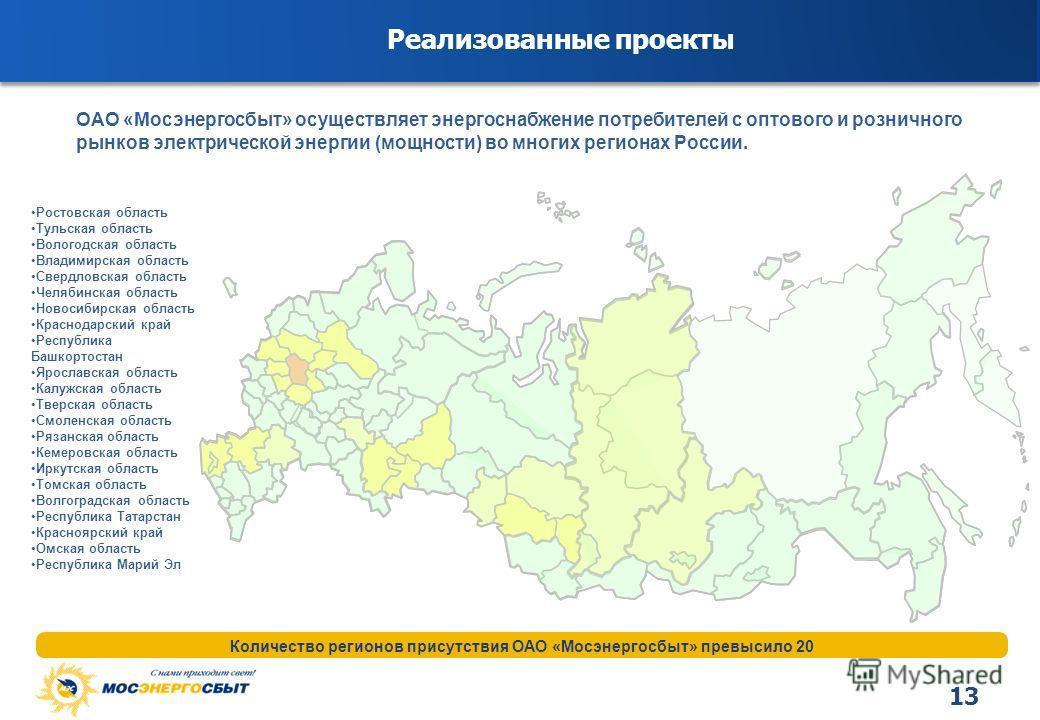 13 Реализованные проекты Количество регионов присутствия ОАО «Мосэнергосбыт» превысило 20 ОАО «Мосэнергосбыт» осуществляет энергоснабжение потребителей с оптового и розничного рынков электрической энергии (мощности) во многих регионах России. Ростовс