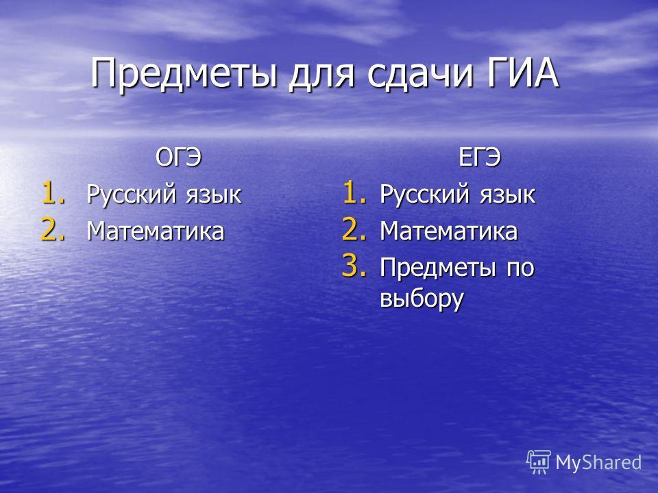 Предметы для сдачи ГИА Предметы для сдачи ГИА ОГЭ 1. Русский язык 2. Математика ЕГЭ 1. Русский язык 2. Математика 3. Предметы по выбору