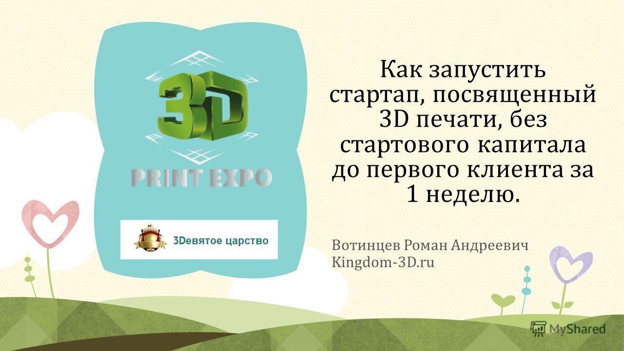Как запустить стартап, посвященный 3D печати, без стартового капитала до первого клиента за 1 неделю. Вотинцев Роман Андреевич Kingdom-3D.ru