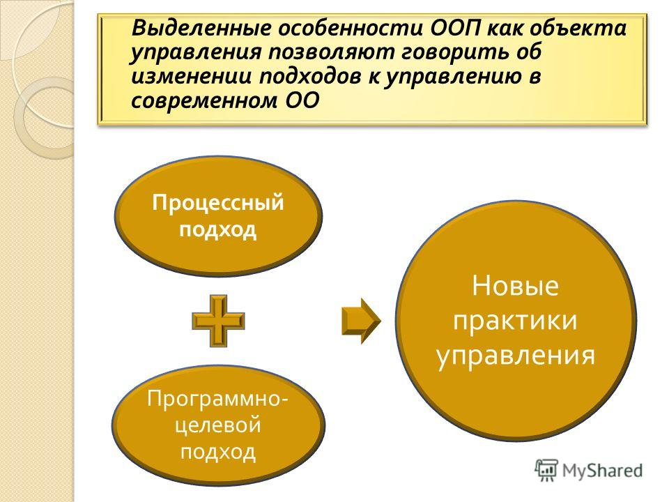 Выделенные особенности ООП как объекта управления позволяют говорить об изменении подходов к управлению в современном ОО Процессный подход Программно - целевой подход Новые практики управления