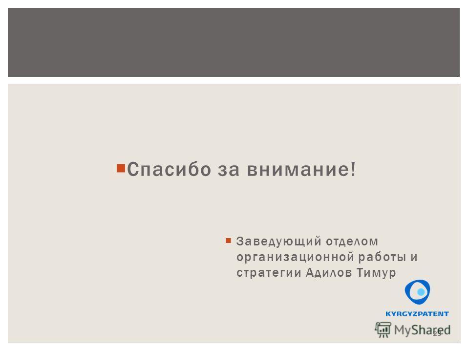 Спасибо за внимание! Заведующий отделом организационной работы и стратегии Адилов Тимур 23