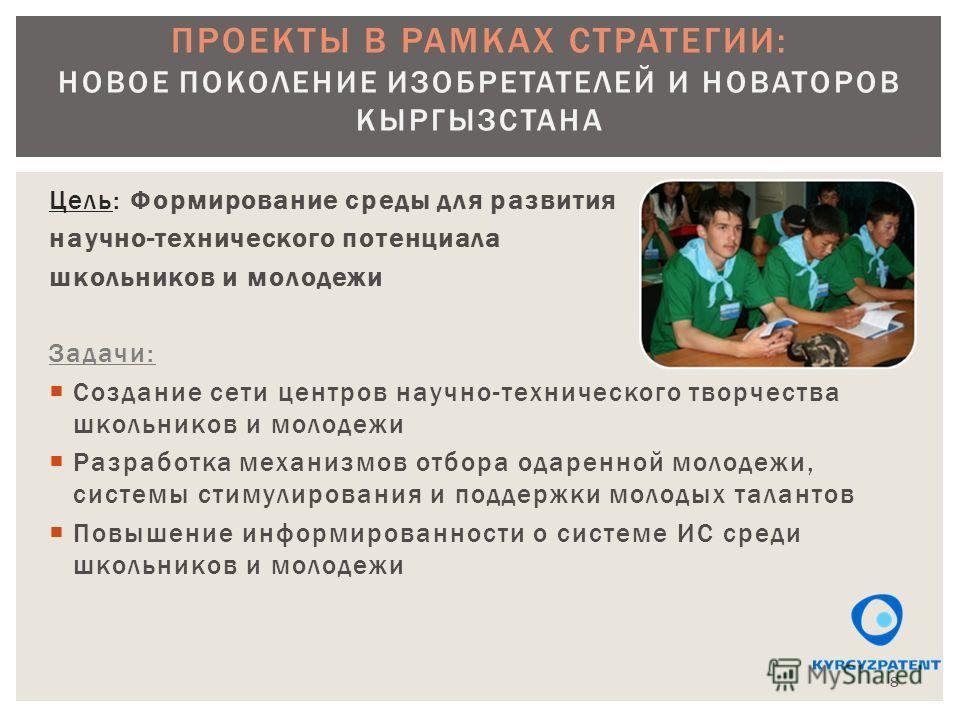 Цель: Формирование среды для развития научно-технического потенциала школьников и молодежи Задачи: Создание сети центров научно-технического творчества школьников и молодежи Разработка механизмов отбора одаренной молодежи, системы стимулирования и по