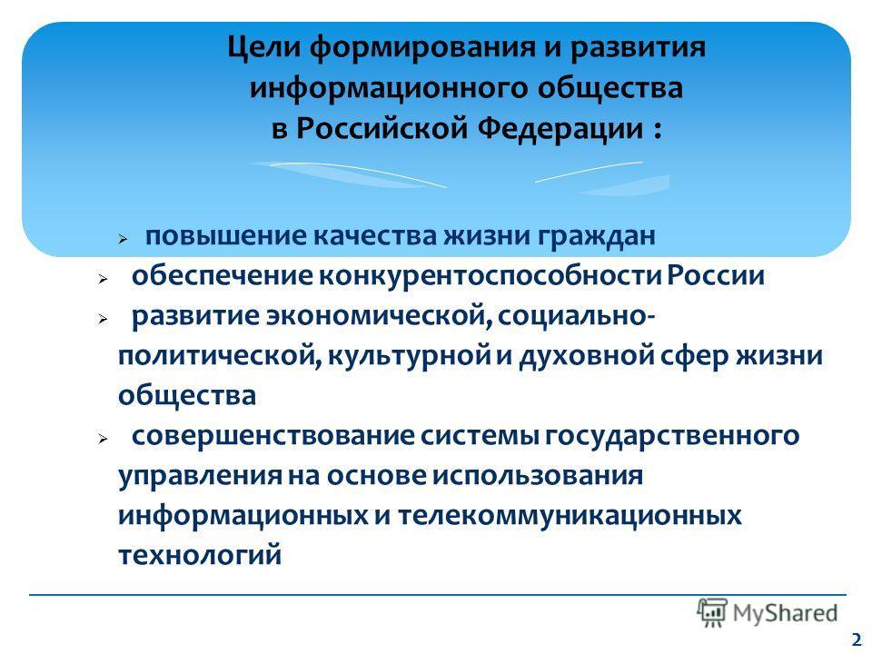 повышение качества жизни граждан обеспечение конкурентоспособности России развитие экономической, социально- политической, культурной и духовной сфер жизни общества совершенствование системы государственного управления на основе использования информа