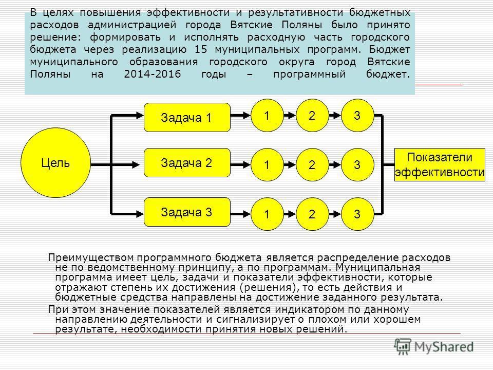 В целях повышения эффективности и результативности бюджетных расходов администрацией города Вятские Поляны было принято решение: формировать и исполнять расходную часть городского бюджета через реализацию 15 муниципальных программ. Бюджет муниципальн