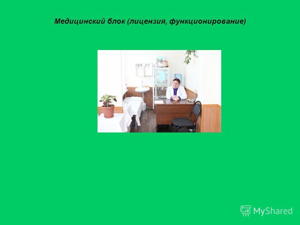 Медицинский блок (лицензия, функционирование)