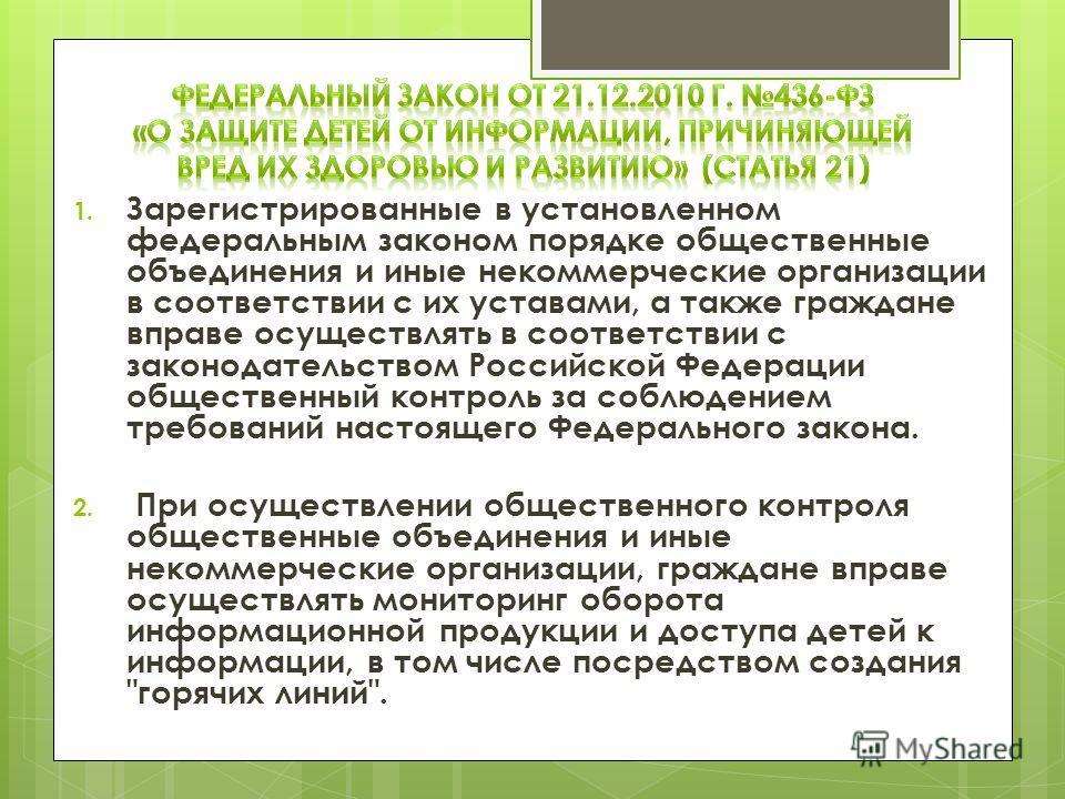 1. Зарегистрированные в установленном федеральным законом порядке общественные объединения и иные некоммерческие организации в соответствии с их уставами, а также граждане вправе осуществлять в соответствии с законодательством Российской Федерации об