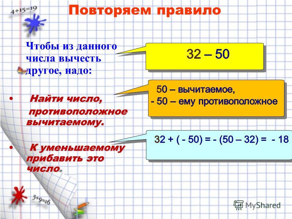 Чтобы из данного числа вычесть другое, надо: Найти число, Найти число, противоположное вычитаемому. противоположное вычитаемому. К уменьшаемому прибавить это число. К уменьшаемому прибавить это число. Повторяем правило