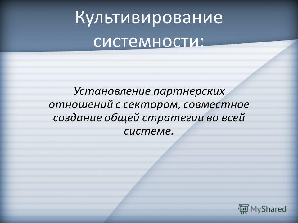 Культивирование системности: Установление партнерских отношений с сектором, совместное создание общей стратегии во всей системе.