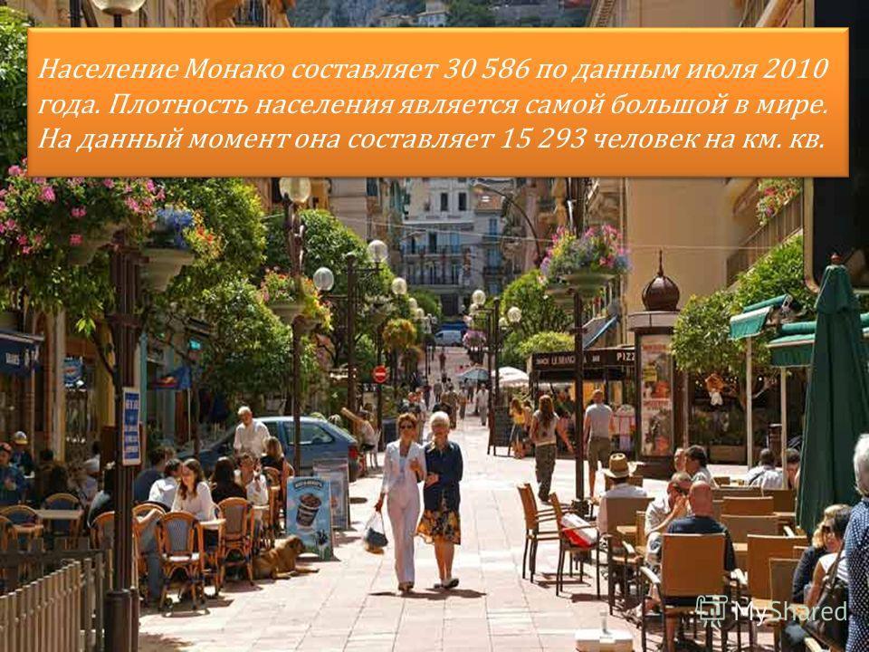 Население Монако составляет 30 586 по данным июля 2010 года. Плотность населения является самой большой в мире. На данный момент она составляет 15 293 человек на км. кв.