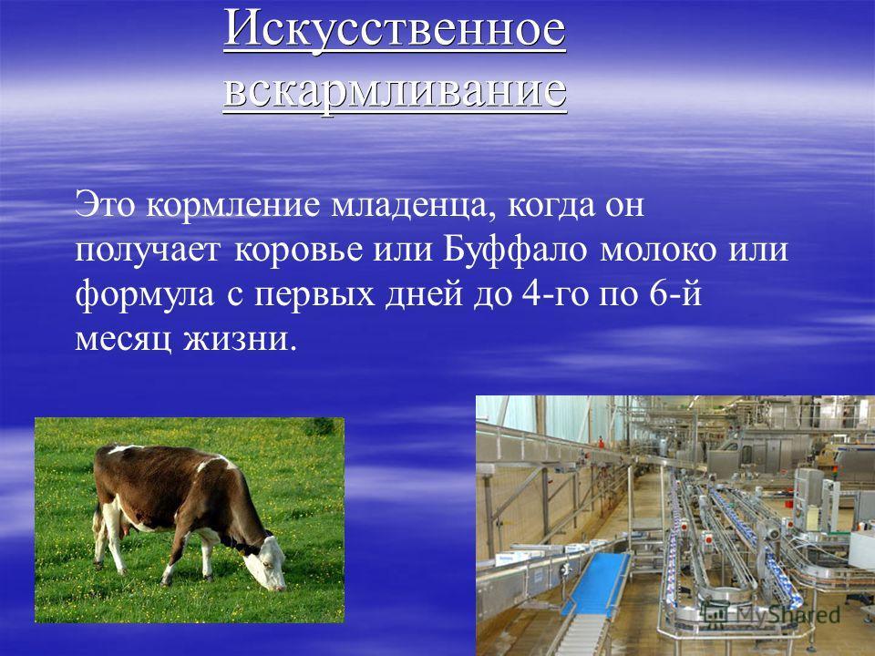Искусственное вскармливание Это кормление младенца, когда он получает коровье или Буффало молоко или формула с первых дней до 4-го по 6-й месяц жизни.
