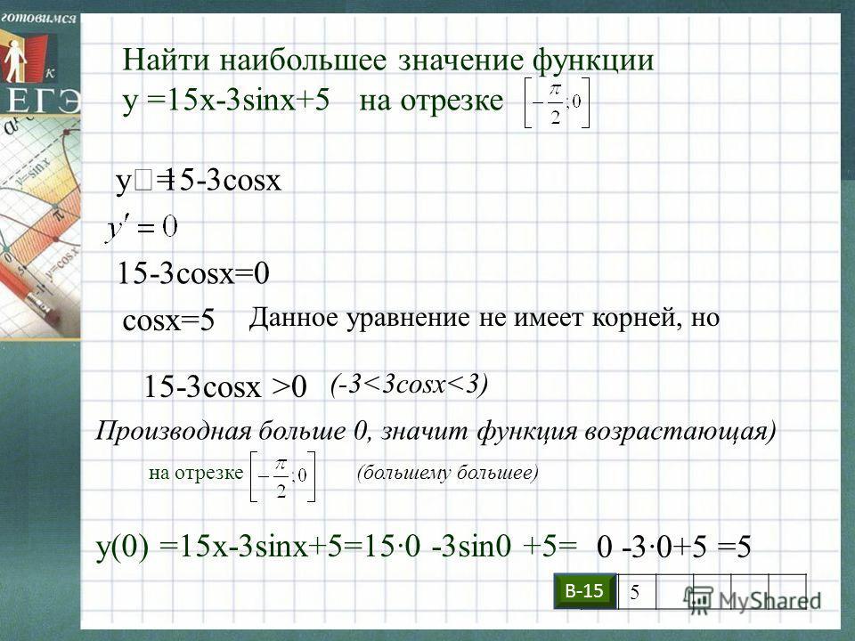 Найти наибольшее значение функции у =15x-3sinx+5 на отрезке y=y=15-3cosx 15-3cosx=0 cosx=5 Данное уравнение не имеет корней, но 15-3cosx >0 (-3