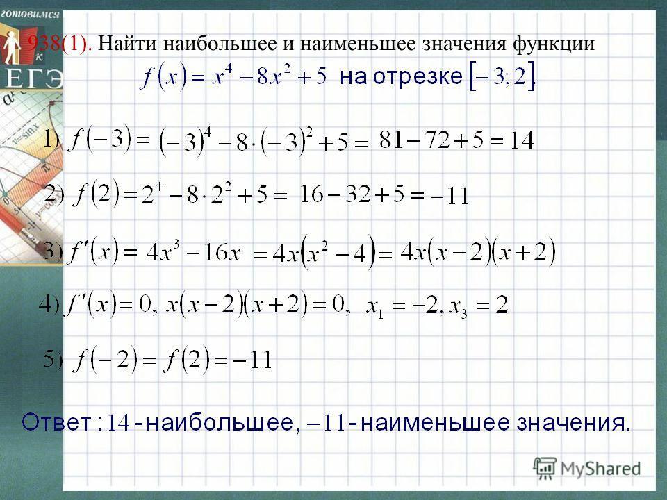 938(1). Найти наибольшее и наименьшее значения функции