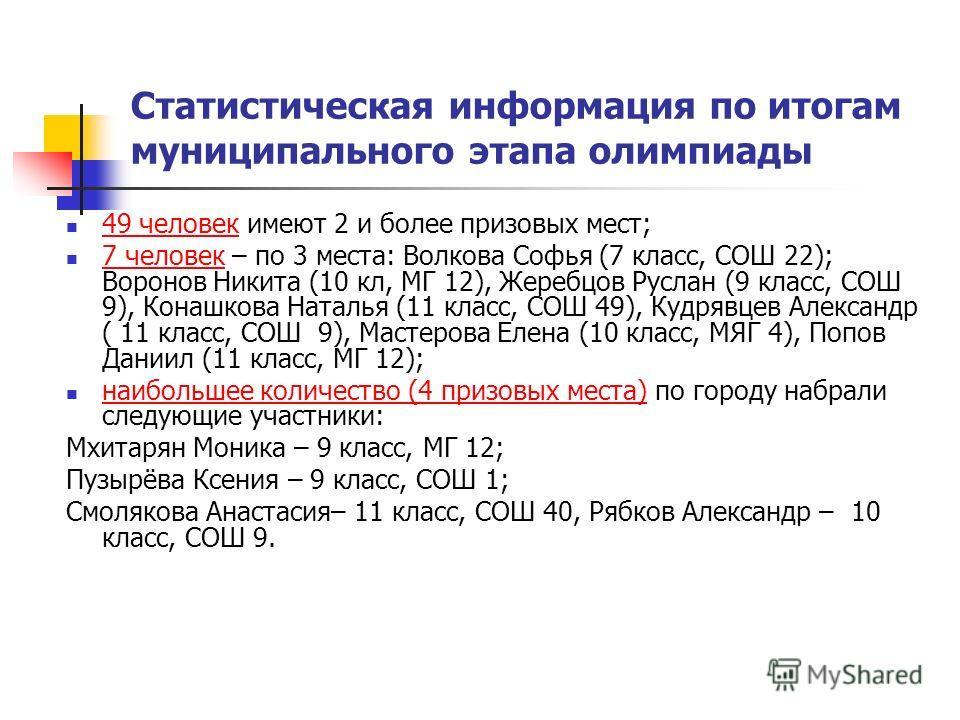 Статистическая информация по итогам муниципального этапа олимпиады 49 человек имеют 2 и более призовых мест; 7 человек – по 3 места: Волкова Софья (7 класс, СОШ 22); Воронов Никита (10 кл, МГ 12), Жеребцов Руслан (9 класс, СОШ 9), Конашкова Наталья (