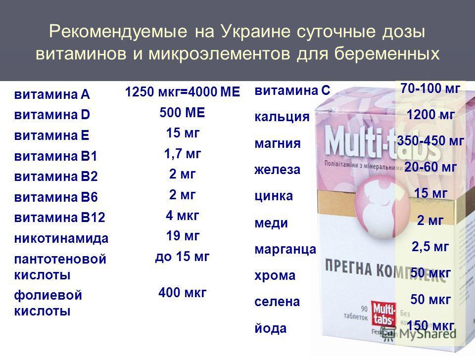 Доза витамина при беременности