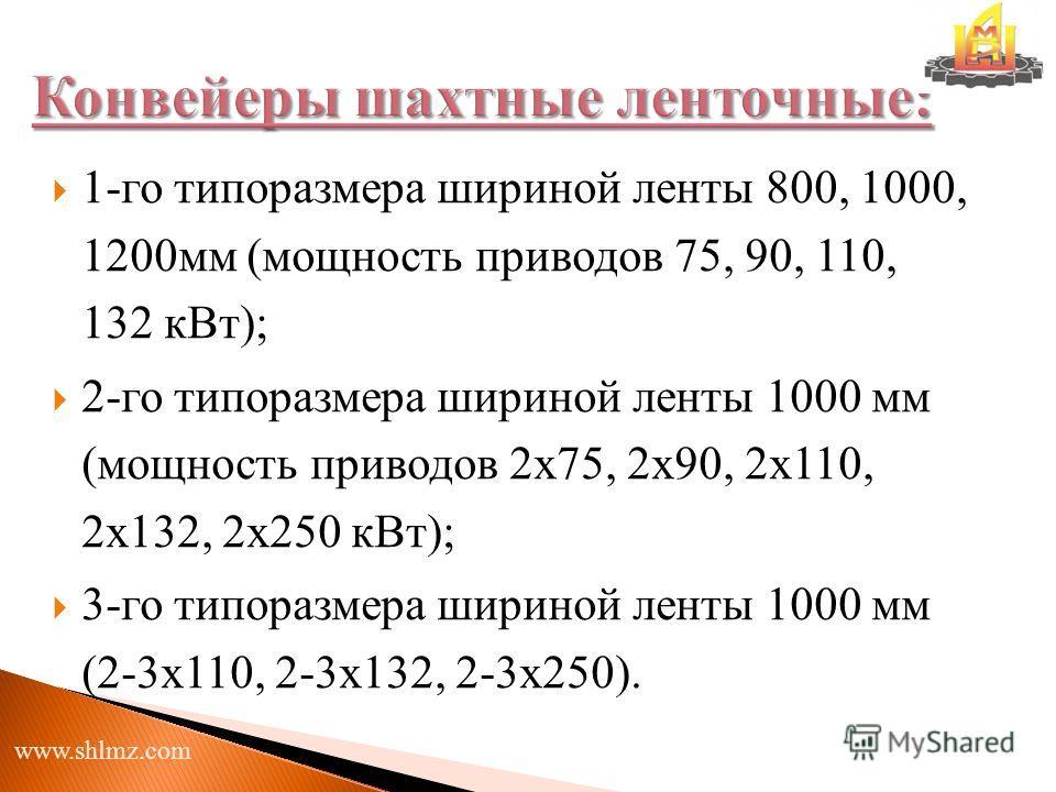 1-го типоразмера шириной ленты 800, 1000, 1200мм (мощность приводов 75, 90, 110, 132 кВт); 2-го типоразмера шириной ленты 1000 мм (мощность приводов 2х75, 2х90, 2х110, 2х132, 2х250 кВт); 3-го типоразмера шириной ленты 1000 мм (2-3х110, 2-3х132, 2-3х2