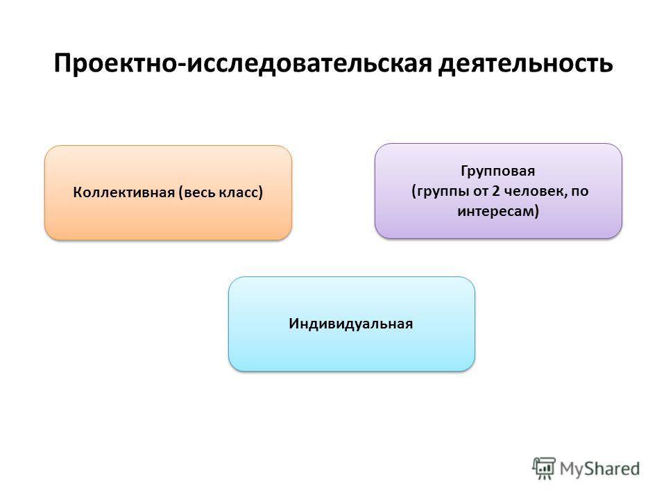 Проектно-исследовательская деятельность Коллективная (весь класс) Индивидуальная Групповая (группы от 2 человек, по интересам) Групповая (группы от 2 человек, по интересам)