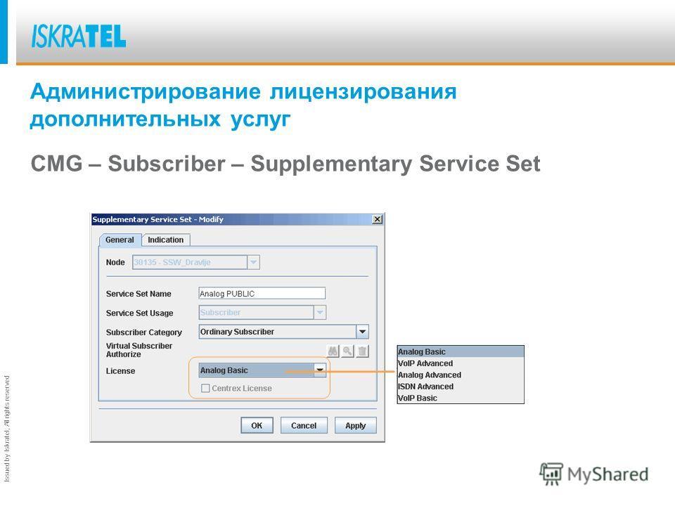 Issued by Iskratel; All rights reserved CS6113. Лицензирование дополнительных услуг. Базовые лицензии определяют очень маленький набор разрешенных услуг и предназначены для абонентов с более низкими требованиями, которые практически не пользуются доп