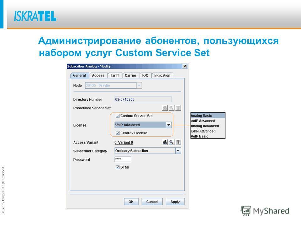 Issued by Iskratel; All rights reserved Администрирование лицензирования дополнительных услуг CMG – Subscriber – Supplementary Service Set