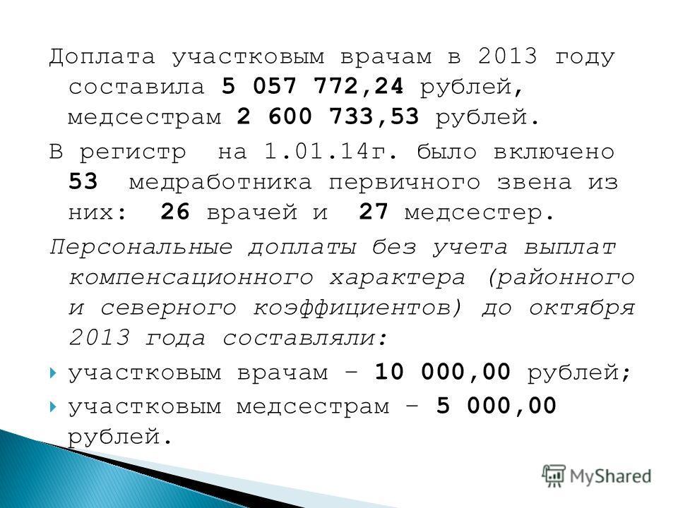 Доплата участковым врачам в 2013 году составила 5 057 772,24 рублей, медсестрам 2 600 733,53 рублей. В регистр на 1.01.14г. было включено 53 медработника первичного звена из них: 26 врачей и 27 медсестер. Персональные доплаты без учета выплат компенс