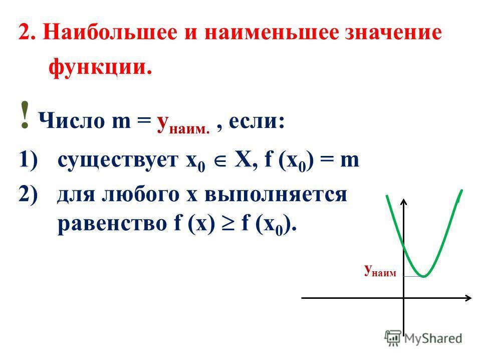 2. Наибольшее и наименьшее значение функции. ! Число m = у наим., если: 1)существует х 0 Х, f (x 0 ) = m 2)для любого х выполняется равенство f (x) f (x 0 ). y наим