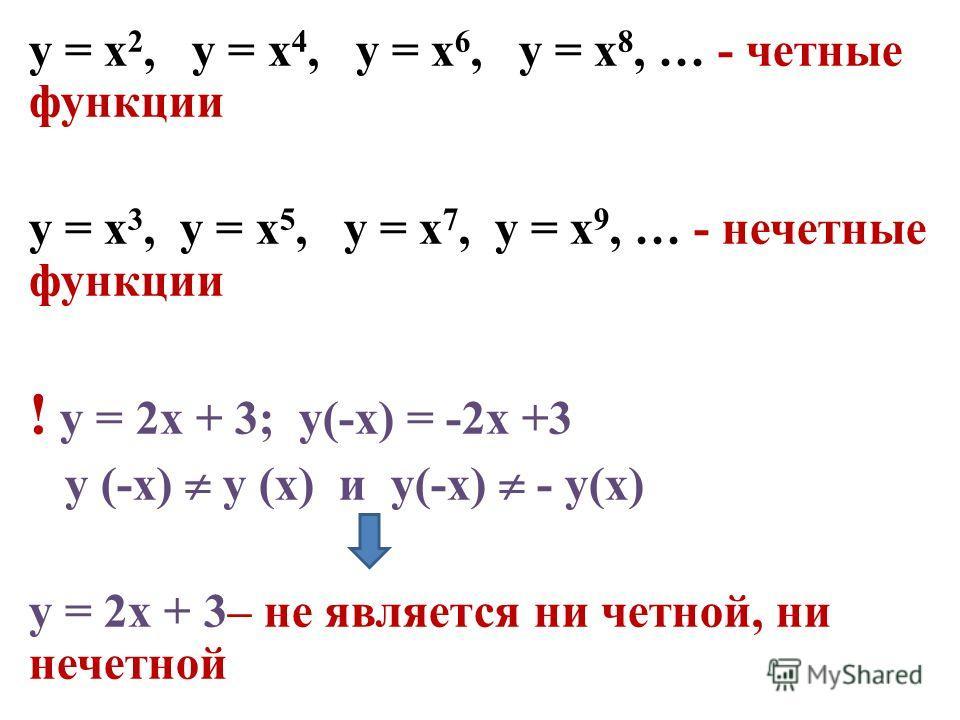 у = х 2, у = х 4, у = х 6, у = х 8, … - четные функции у = х 3, у = х 5, у = х 7, у = х 9, … - нечетные функции ! у = 2х + 3; у(-х) = -2х +3 у (-х) у (х) и у(-х) - у(х) у = 2х + 3– не является ни четной, ни нечетной