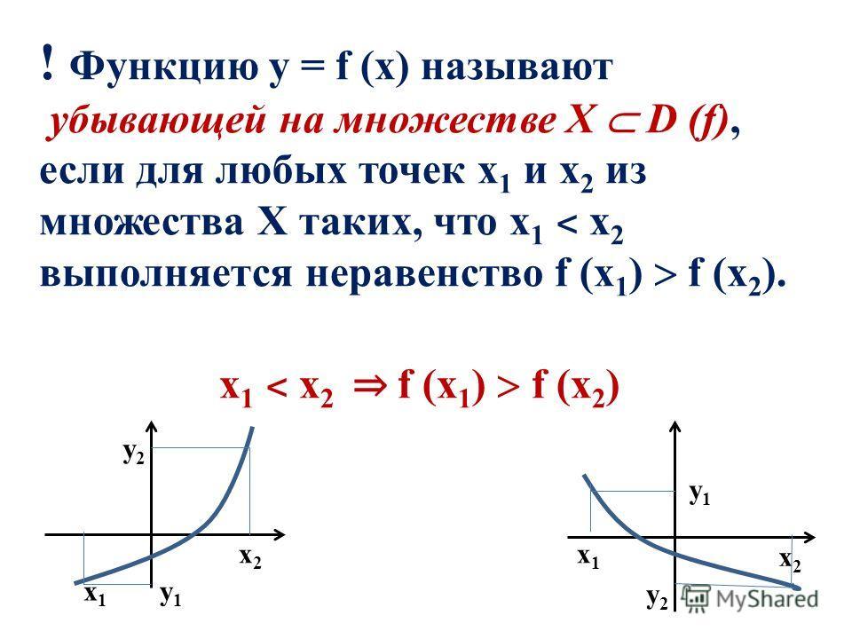 ! Функцию у = f (x) называют убывающей на множестве Х D (f), если для любых точек х 1 и х 2 из множества Х таких, что х 1 ˂ х 2 выполняется неравенство f (x 1 ) f (x 2 ). х 1 ˂ х 2 f (x 1 ) f (x 2 ) х1х1 х1х1 х2х2 х2х2 у2у2 у1у1 у1у1 у2у2