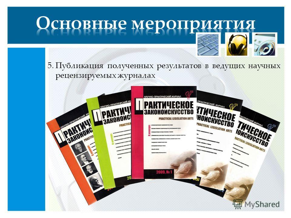 5.Публикация полученных результатов в ведущих научных рецензируемых журналах